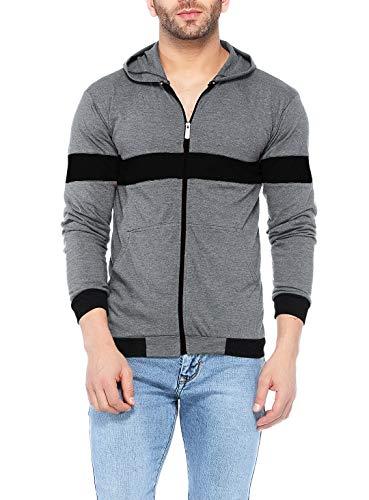 V3Squared Men's Cotton Full Sleeve Zipper Hooded T-Shirt, Medium(Zip_Blk_Pch_Gry_Hood_M, Grey)