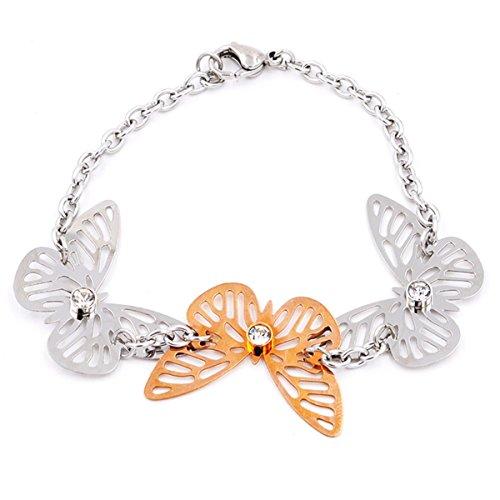 hardart tres mariposas ahuecado acero inoxidable Enlace Cadena Pulsera: plateado/oro rosa