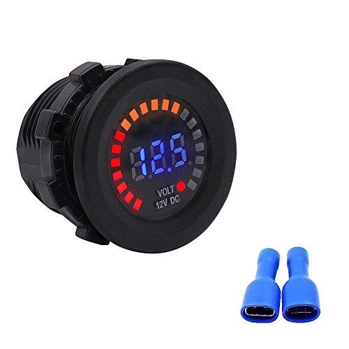 TurnRaise 12V wasserdichte LED DC Digitalanzeige Voltmeter für Auto Motorrad LKW Boot Marine