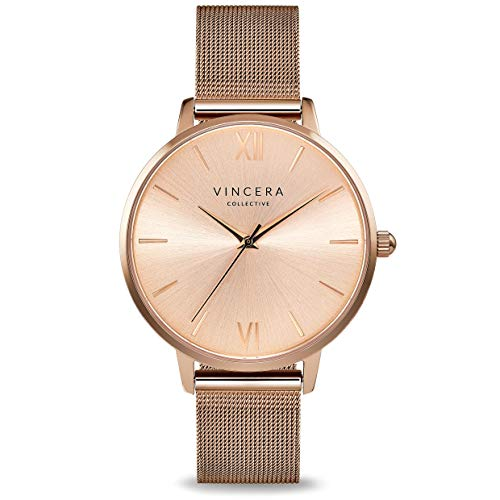 Vincero Luxury Women's Eros Wrist Watch - Rose Gold + Rose Gold dial with a Rose Gold Mesh Watch Band - 38mm Analog Watch - Japanese Quartz Movement ...