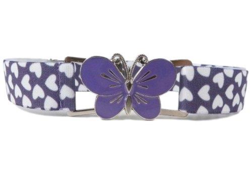 Olata Cinturón Elástico para los Niñas 1-11 Años, Grande Clip Diseño. Corazones Lila/Mariposa Lila
