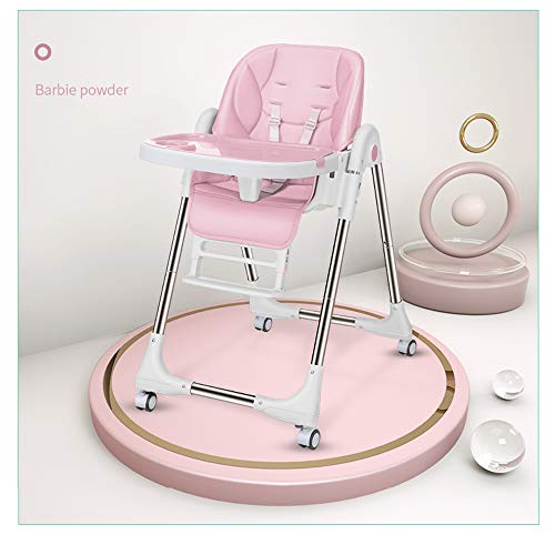 Sinbide Seggiolone pieghevole e regolabile con 4 ruote per bambini,5 posizioni regolabile schienale,cuscino in PU confortevole (Rosa)