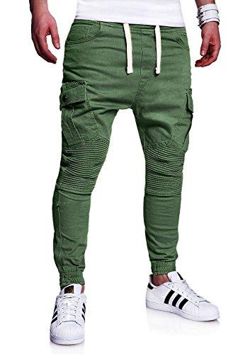 MT Styles Biker Jogg-Jeans Chino Hose Khaki W30