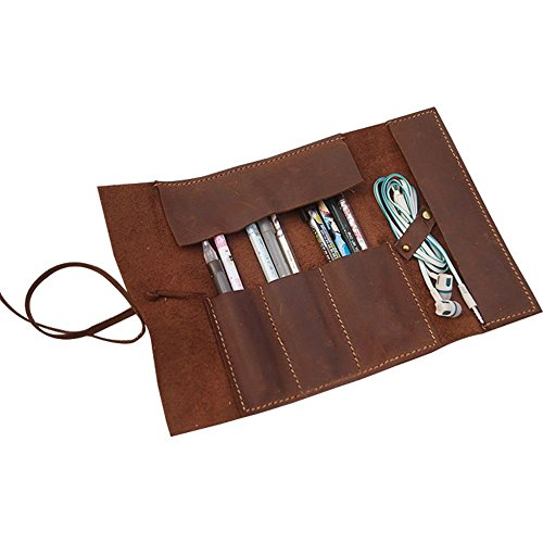 Pencil Case Handmade Genuine Leather Stationery Pencil Roll Pouch/Pen Case Holder Organizer Soft...