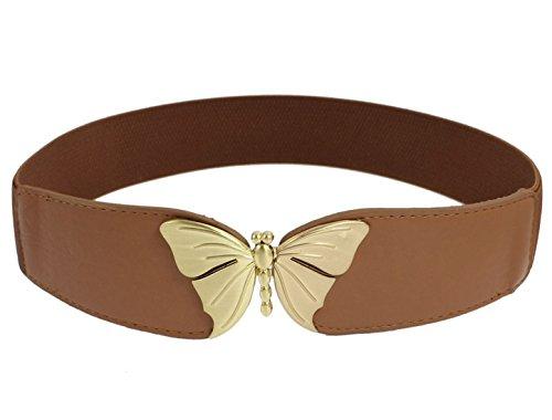 Sourcingmap Cinturón Elástico En Forma De Mariposa Hebilla De Metal De Bloqueo - Marrón