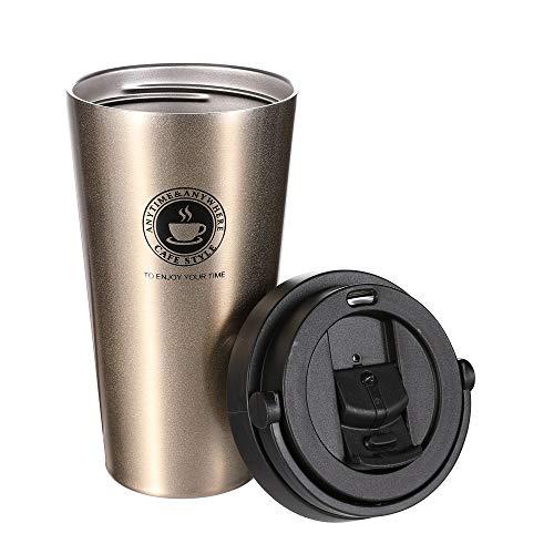 Yierya Tazza Termica,Tazza per Caffe da Viaggio,Bottiglia in Acciaio Inossidabile Senza alcun Tipo di Perdite,100% sicura e Adatta a Caffe,Te e Altre Bevande (Golden)