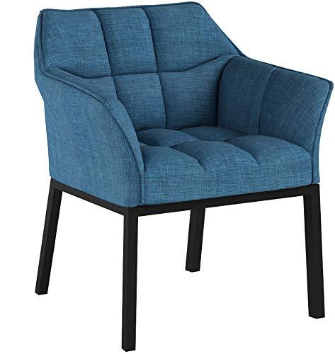 CLP Poltroncina Lounge Octavia in Tessuto I Sedia da Salotto Imbottita I Sedia Soggiorno Design I Alt. Seduta 49 CM Blu Metallo Nero Opaco