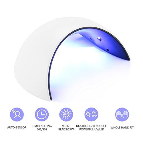 Lampada per unghie,JBSON lampada per tutti i tipi di smalti e gel per unghie con LED UV da 27 W con...