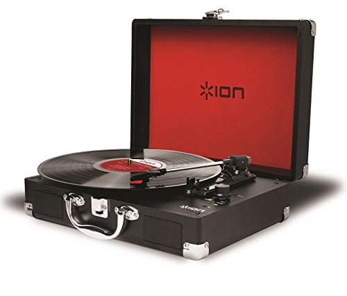 ION Audio Vinyl Motion Portable 3-Speed Belt-Drive Suitcase Turntable (Black) with Built-In Speakers