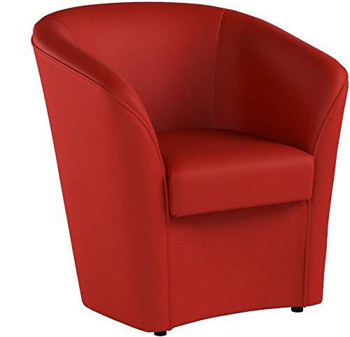 Totò Piccinni Poltrona a POZZETTO in Ecopelle Design | Alta QUALITA' | Made in Italy (Rosso)