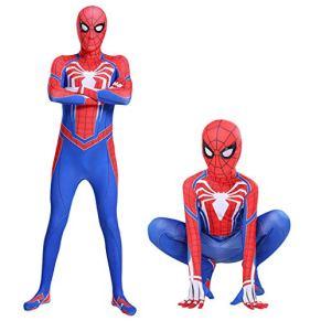 kksun Trajes de Hombre araña Medias Mono Speedsuit niños y Adultos Superhero Lycra Spandex Vestido Ropa de Halloween Cosplay,Red- Children L