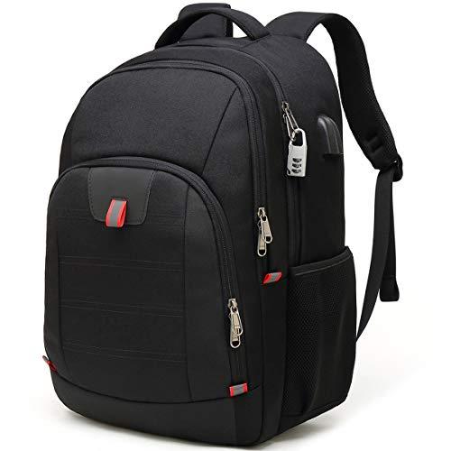 Waterproof Anti-Theft Backpack, 17.3 Inch Men's Laptop Backpack Waterproof USB Port Work Computer Travel Business Multifunctional Backpacks Black