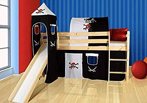 moebelstore24 Hochbett Spielbett Tilo Kiefer Massiv Natur inkl. 1 x Rollrost + Vorhang + Turm