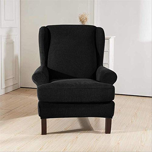 DINDAL Fodera per Sedia Sloping Arm King Back Chair Copertura Elastica Poltrona Wingback Wing Sofa Back Chair Copertura Stretch Altro Nero