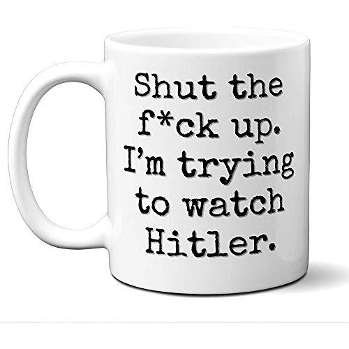 Tazza regalo Hitler. Divertente fan degli amanti del film parodia 'Zitto I' M Cercando di guardare...
