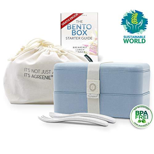 aGreenie die japanische Premium Bento Box - blau - Eco Lunchbox - Brotdose für Kinder und Erwachsene - Unterteilung in 4 Fächer - auslaufsicher - BPA frei - inkl. Besteck, Tasche und gratis E-Book (