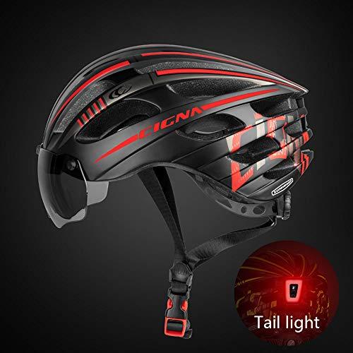 Casco Bici con Luce di LED ,Casco da Ciclismo Adulto per Bicicletta Caschi Occhiali Visiera...
