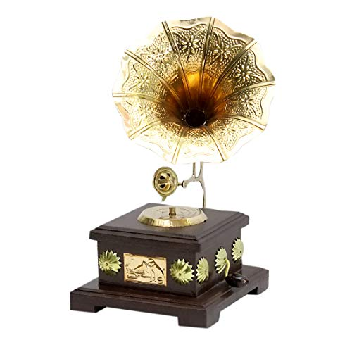 Arsh Handicrafts Square Stool Gramophone MDF Vintage Gramophone Brass Showpiece