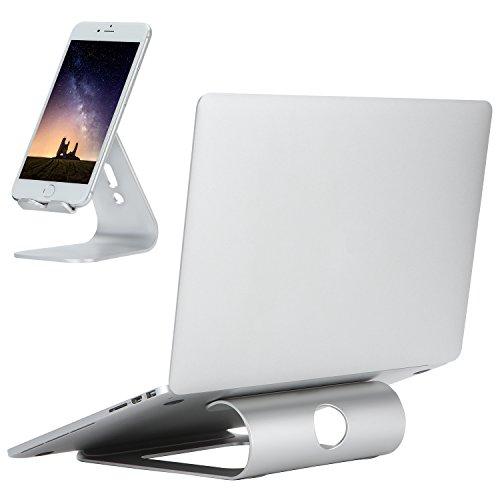 DRROT Supporto per porta laptop in alluminio per notebook da 11-15 pollici con supporto per telefono...