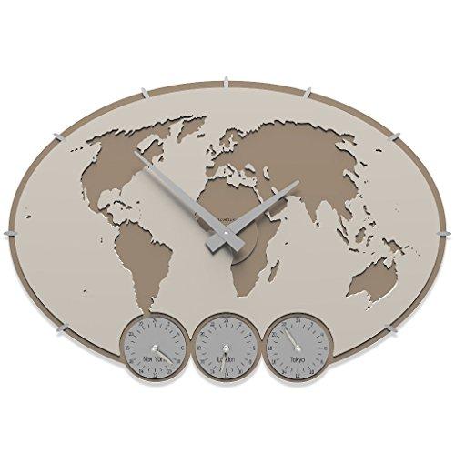 CalleaDesign - Orologi in legno con fusi orari Greenwich da personalizzare, Colore: Lino