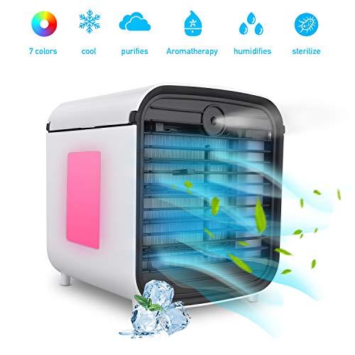 Condizionatore Portatile, Hisome 4-en-1 Mini Ventilatore da Tavolo, Umidificatore, Purificatore e...