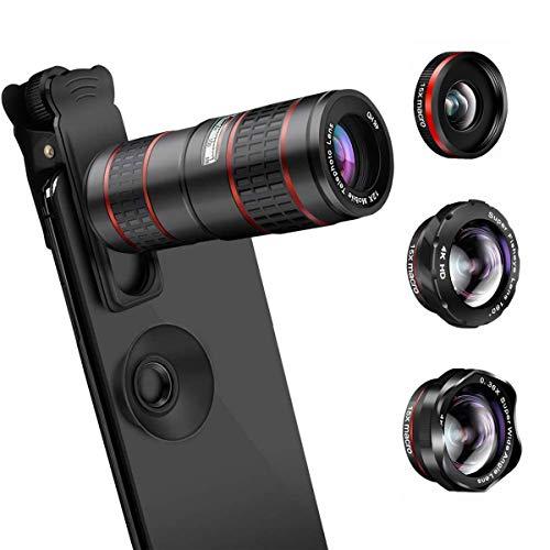 AFAITH Lenti per Cellulare, Obiettivi Smartphone Clip on 5 in 1 Lente Kit 12X Teleobiettivo+Fisheye da 180 °+0.36 Obiettivo Grandangolare e Obiettivo Macro 15x per iPhone X/XS/8, Samsung Note9/S10/S9
