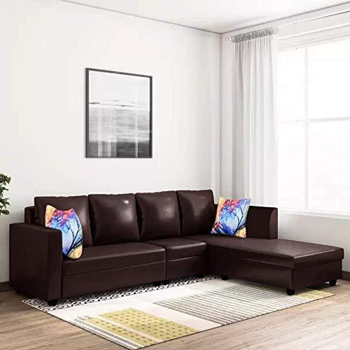 CasaStyle - Carol Six Seater RHS L Shape Sofa Set Leatherette (Brown)