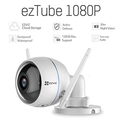 EZVIZ ezTube Telecamera di Sorveglianza Esterna, WiFi, Visione Notturna, IP66 Antipolvere e Impermeabile, Stroboscopo e Sirena Difesa Attiva, Cloud, Compatibile con Alexa, Audio a 2 Vie, 1080p