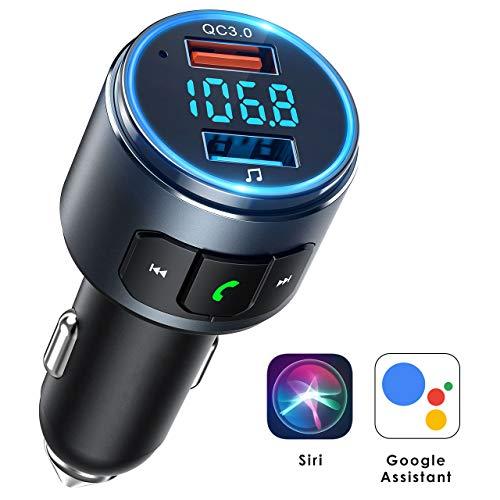 Mpow Trasmettitore FM Bluetooth 5.0 per Auto Supporta Siri & Assistente Google, Ricaricare Fino a 2...