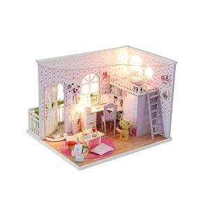 DIY miniatura Kit de la casa de muñecas Juguetes casa de muñecas en miniatura Kits Decoración hecha a mano de madera DIY casa de muñecas hecha a mano Buena Hora Sala modelo montado juguetes del regalo