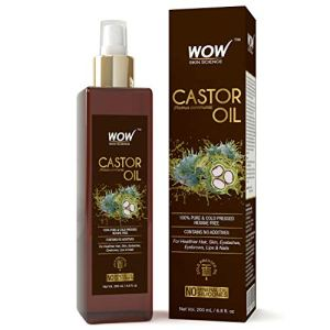 WOW 100% Pure Castor Oil - Cold Pressed - For Stronger Hair, Skin & Nails - No Mineral Oil & Silicones - 200mL 12