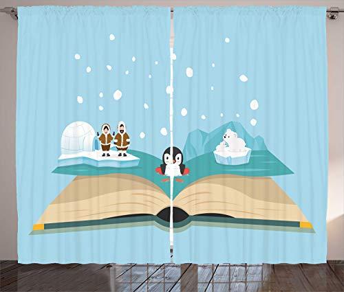 ABAKUHAUS Polo Nord Tenda, Iglo Eskimo Polar Bear, Due Pannelli Set per la Casa Nuova, 280 x 225 cm, Pale Blue e Multicolore