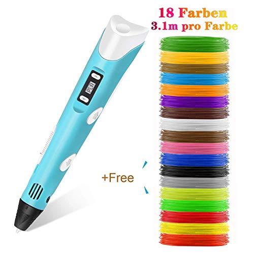 Lovebay 3D Drucker Stift DIY Scribbler 3D Stereoscopic Printing Pen mit LCD-Bildschirm + 18 Farben Φ1,75 mm 3d Filament - insgesamt 183 ft || für Kinder Anfänger Erwachsene Zeichnung 3d Stifte