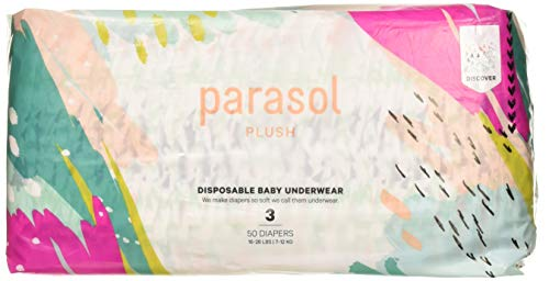 Parasol Plush Baby Diaper - Discover Collection - Size 3 (16-28 lbs) 50 Count - Soft, Absorbent, Eco-friendly, Perfect Fit