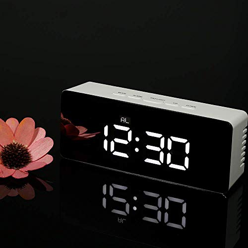 Aryshaa Rectangle Shape LED Display Digital Clock Mirror Square Modern Design Snooze Temperature Function Home Office