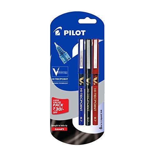 Pilot V7 Liquid Ink Roller Ball Pen (1 Blue + 1 Black + 1 Red)