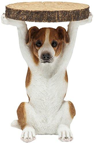 Kare Design, tavolino Animal Ms Jack, Ø33cm, tavolino rotondo, piccolo cane, aspetto legno, figura animale come insolito tavolo da salotto (H / W / D) 52x35x33cm