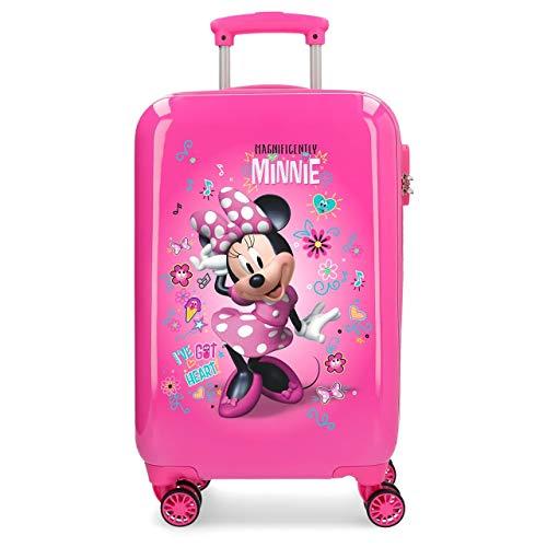 Disney Minnie Minnie Stickers Valigia rigida con Adesivi per bambini, 55 cm, 32 liters, Rosa