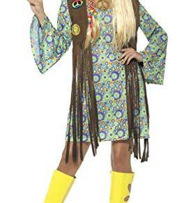 Smiffy'S 43127S Disfraz De Hippie Años 60 Para Chica Con Vestido Chaleco, Medallon, Multicolor, S - Eu Tamaño 36-38