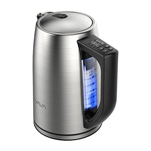 VAVA Bouilloire Électrique Thermostat Réglable Inox 1.7L et 6 Présélections de Températures, Auto Arrêt, Sans BPA, Poignée Thermo-isolée, Protection Anti-ébullition à Sec, Thermostat Strix pour Thé, Cafetière, etc. (Argent)