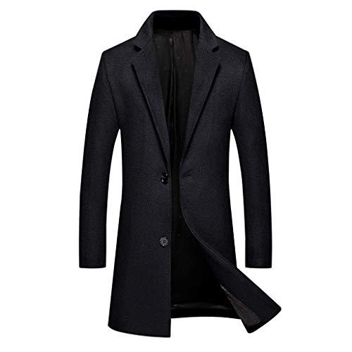 Blazer da Uomo Casual Trench Coat in Pelle Moda Giacca da Uomo Business Lungo Slim Cappotto Soprabito Outwear