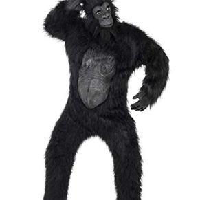Smiffy's-24230 Disfraz de Gorila Deluxe, Body con Pelo de Caucho, máscara, Manos y pies, Color Negro, Tamaño único (24230)