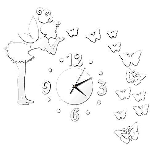 Zn Ángel Chica Mariposa Diseño moderno espejo reloj de pared Home Decor Reloj adhesivo de pared