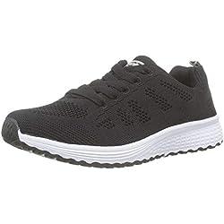 Zapatillas de Deportivos de Running para Mujer Gimnasia Ligero Sneakers Negro Azul Gris Blanco 35-40 Negro 38
