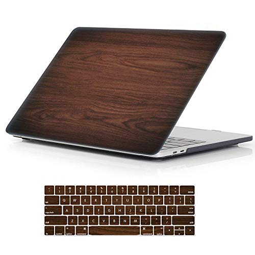 "iCasso MacBook Pro 13 Case 2017 and 2016 Release Hard Shell Cover for Newest MacBook Pro 13"" Retina Model A1706/A1708 with/Without Touch Bar and Touch ID with Keyboard Cover (Brown Woodgrain)"