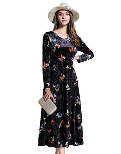 YiJee Mujer Hermoso Manga Larga Cuello V Vestidos Invierno Elegante Largo Fiesta Vestido de Mariposa Imprimir Negro M