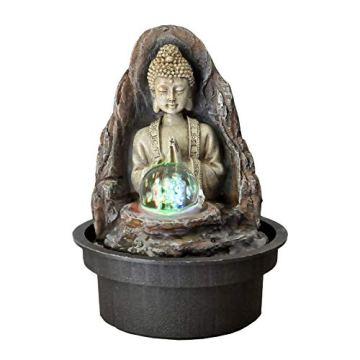 Zen' Light Buda Peace Fuente, Resina, Bronce, 15x 15x 21cm 3