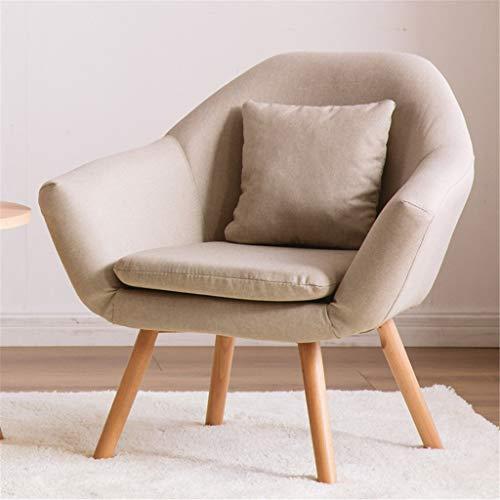 JIAJU Moderna Club Chair Accent Elegance 2 Cuscini gratuiti ricoperti del Tessuto sedie sedie di Svago Poltrona Soggiorno mobili massicci Wooden Legs Singolo Comodo Divano (Colore : Beige)