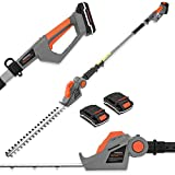 Terratek Cordless Electric Hedge Trimmer Cutter 2 x 18/20V Max Li-ion Batteries 2.4m Long Reach Telescopic Extendable 45cm Cutting Length