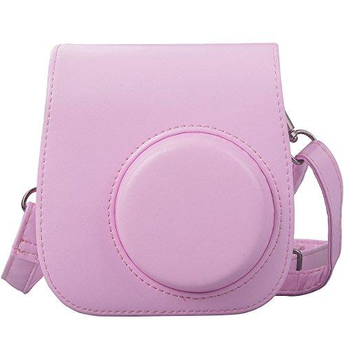 [ Accesorios para Fujifilm Instax ]- ZWOOS Cuero de la PU Cámara Bolsa de Fujifilm Instax Mini 8 con Correa para el Hombro y Bolsillo(rosado)